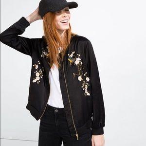 Zara Black silk embroidered bomber